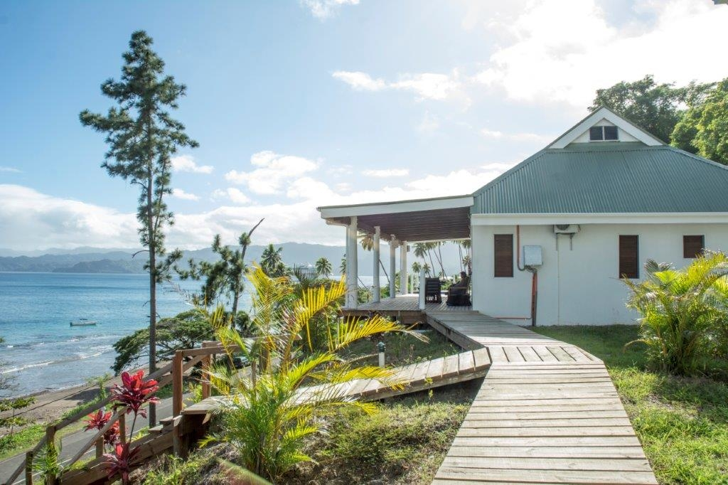 Walking on approach to a Bayview Heights Villa at Daku Resort, Savusavu.