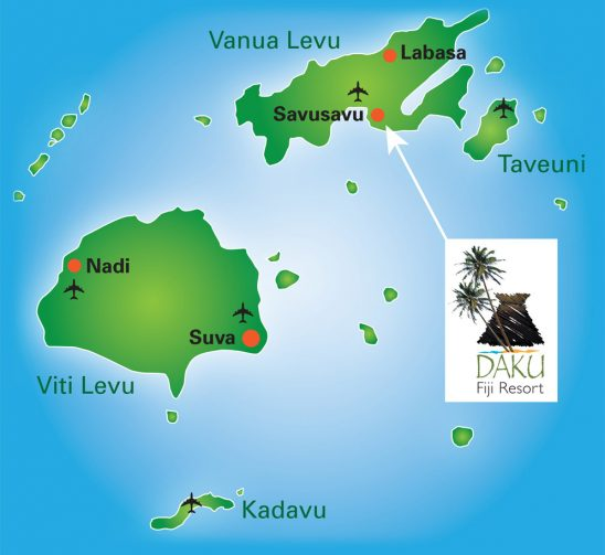 The location of Daku Resort in Savusavu, Fiji.